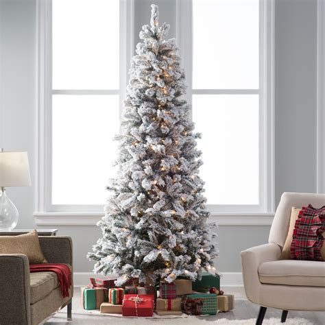 9 ft slim flocked tree classic flocked slim pre lit tree