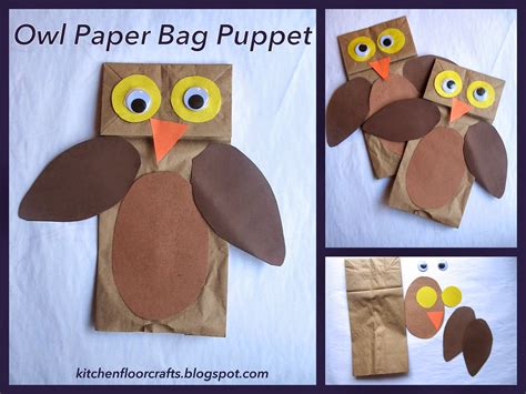 paper puppet crafts kitchen floor crafts owl paper bag puppets