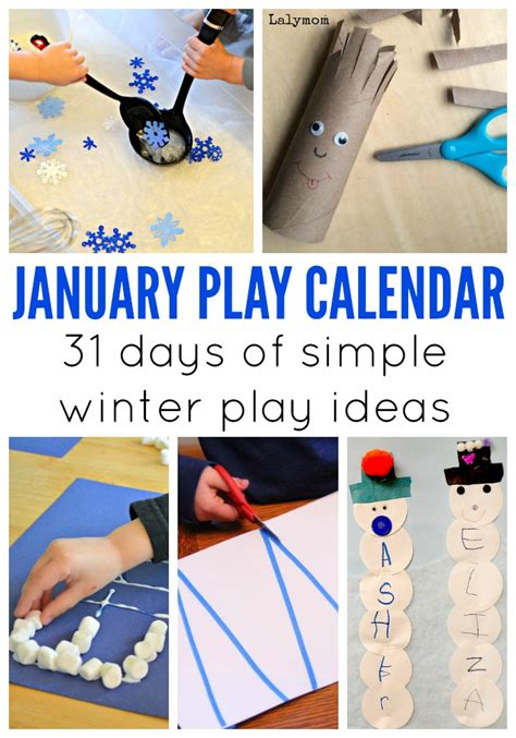 january crafts january activities for monthly play calendar lalymom