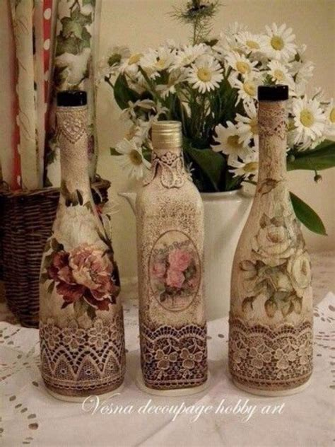 decoupage bottle ideas how to decorate glass bottles with decoupage diy recycle