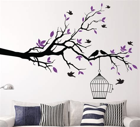 tree sticker wall decor aliexpress buy tree branch with bird cage wall