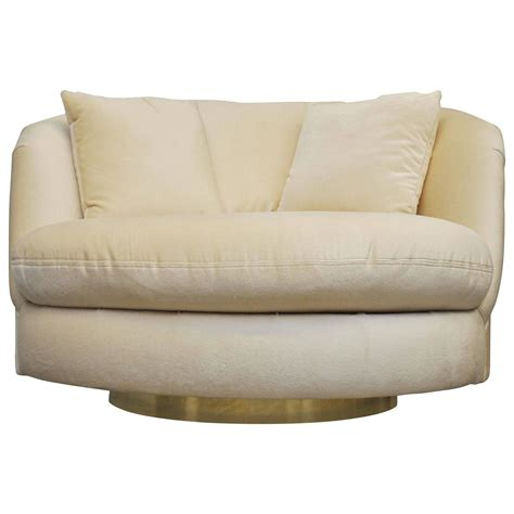 large swivel chairs large brass base swivel chair by milo baughman at 1stdibs