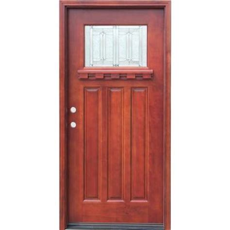 wood front doors home depot pacific entries 36 in x 80 in craftsman 1 lite stained