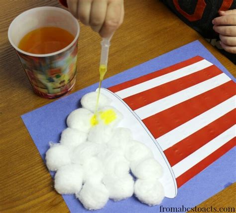popcorn crafts for motor popcorn circus craft for from abcs to acts
