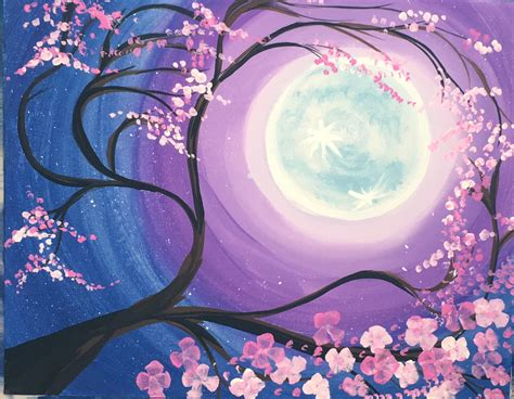 how to paint a cherry blossom tree with moon step by step painting