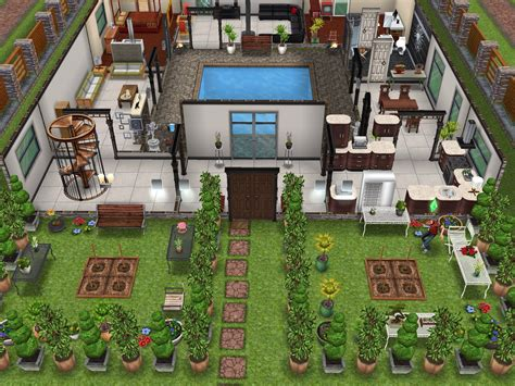 original house with interior courtyard sims freeplay