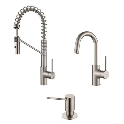 commercial faucets kitchen kraus oletto single handle commercial style kitchen faucet and bar faucet with soap dispenser in