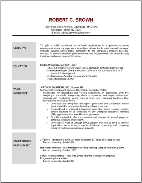 resume exaples good resume objectives student resume template