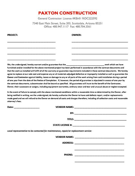 Subcontractors Agreement Template subcontractor guarantee letter paxton construction