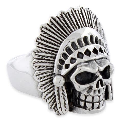 Sterling Silver Chief Skull Ring