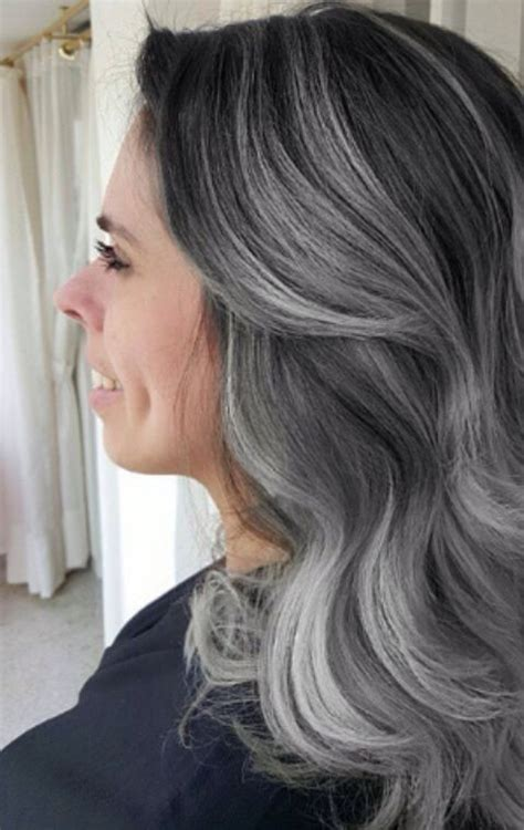 high lighted hair with gray roots grey granny balayage hair with dark roots and silver