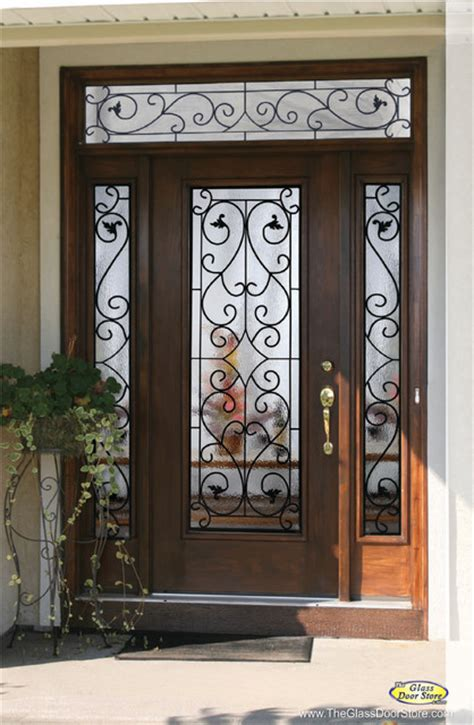 metal front doors for homes with glass wrought iron glass front entry doors mediterranean