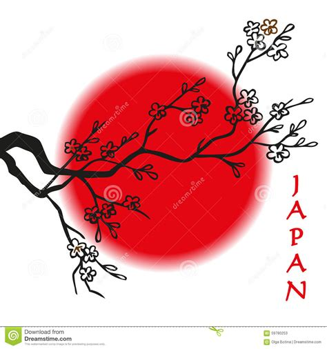 Japanese Minimalism japan flagge kirschbl 252 te und sonne vektor abbildung bild