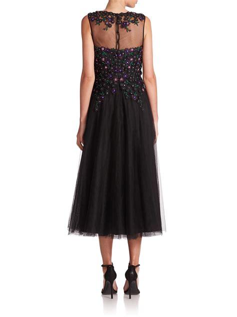 tulle beaded dress teri jon floral beaded tulle dress in black lyst
