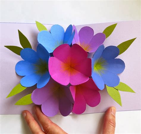 origami pop up flower craft maniacs flower pop up card
