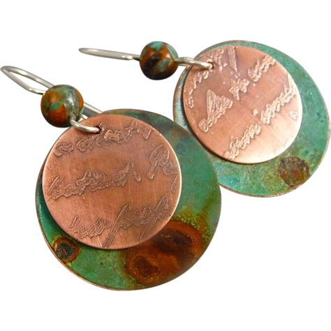 copper discs for jewelry etched copper patina disc earrings sold on ruby