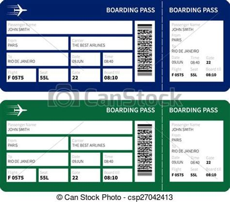 vector clip art of boarding pass airline boarding pass