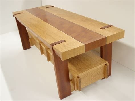 woodworking by design cofee table in white oak and unknown secies with