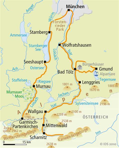 Radweg Englischer Garten München by M 252 Nchner Seen Radweg Karte Reise Service Velociped