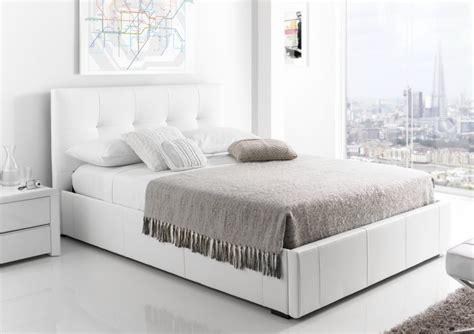 beds white kaydian hexham upholstered storage drawer bed white