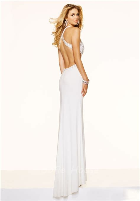 backless beaded prom dress fitted mermaid backless black jersey beaded prom dress