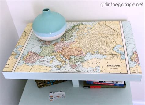 decoupage map decoupaged map table themed furniture makeover day