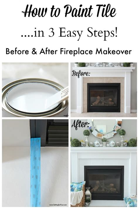 easy fireplace makeover how to paint tile easy fireplace paint makeover