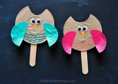 puppet craft for cupcake liner owl puppet craft i crafty things