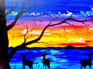 acrylic painting tutorial beginners acrylic painting tutorial deer and sunset lake