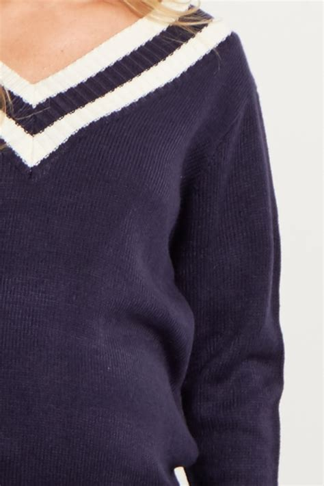 navy blue knit sweater navy blue striped accent sleeve knit sweater