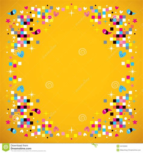 fun pixel squares frame border background stock vector