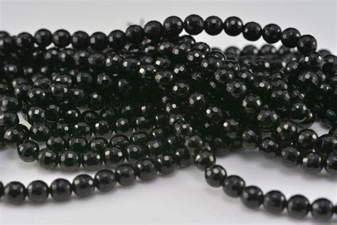 bead wholesale suppliers black onyx 4mm faceted gemstone