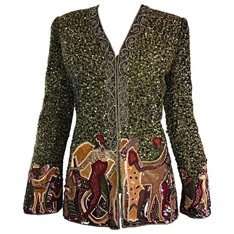 beaded blazer vintage mcfadden green boucle sequined embroidered