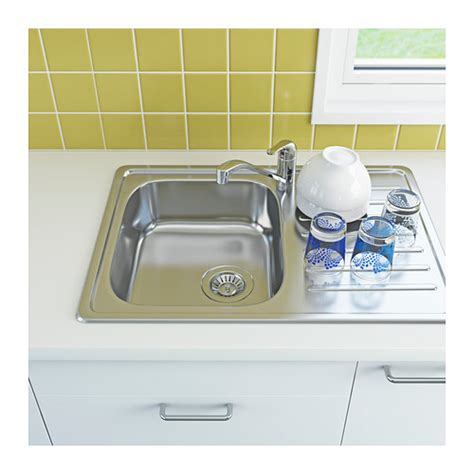 kitchen sinks ikea fyndig 1 bowl inset sink with drainer stainless steel