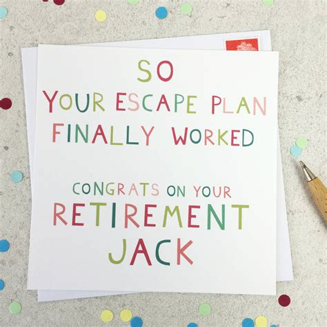how to make a retirement card escape plan personalised retirement card by wink
