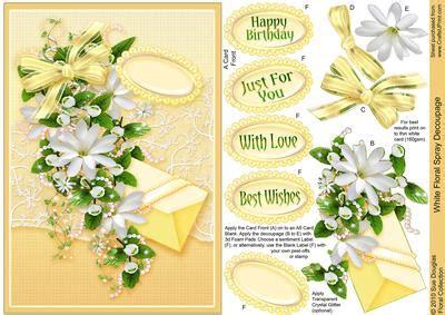 spray decoupage white floral spray decoupage cup120337 422 craftsuprint