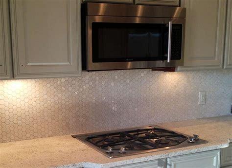 shell tile backsplash white hexagon of pearl shell tile kitchen
