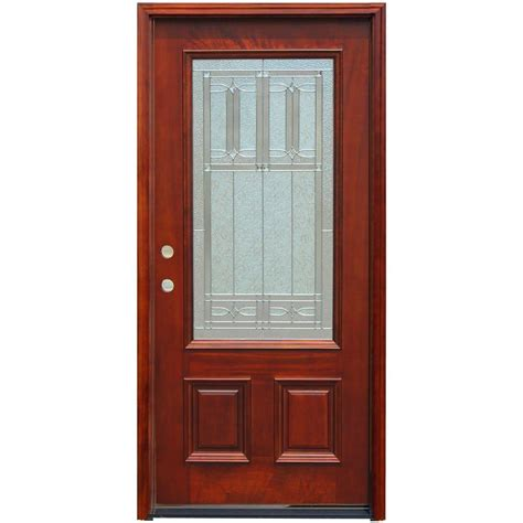 wood front doors home depot steves sons 36 in x 80 in shaker 3 lite stained