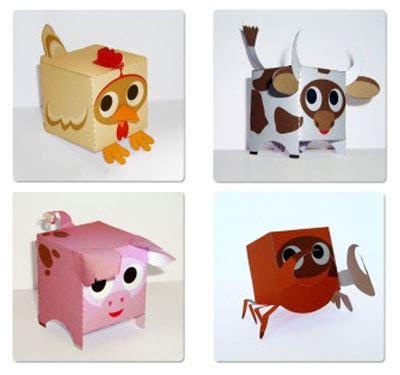 animal paper craft cube shape animal paper for pepakura corner