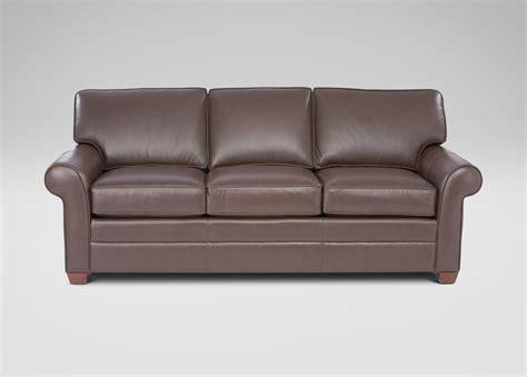ethan allen leather furniture three cushion roll arm leather sofas ethan allen us