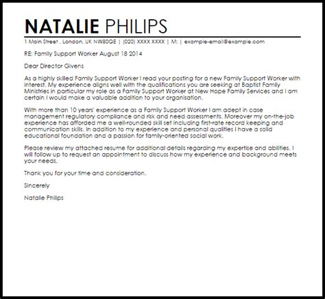 family support worker cover letter sample livecareer