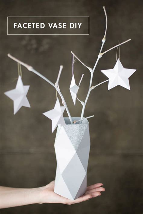 paper vase craft how to make a faceted paper vase free template curbly