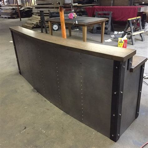 metal reception desk crafted restaurant business sleek metal front desk