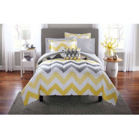 chevron pattern bedding sets mainstays yellow grey chevron bed in a bag bedding