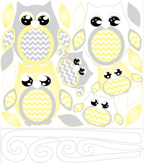 owl wall decals nursery yellow owl wall decals owl stickers owl nursery wall decor