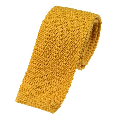 mustard knitted tie wool knitted ties extras