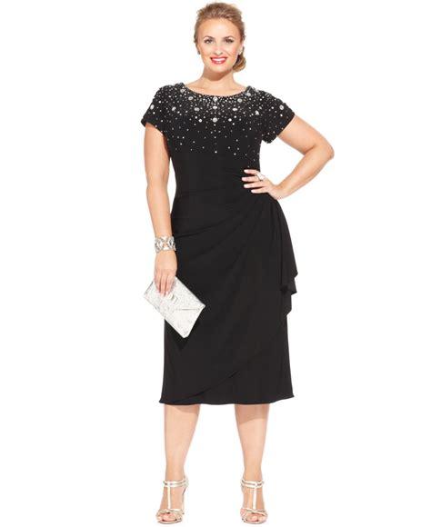 plus size beaded dress alex evenings plus size beaded tiered dress in black lyst