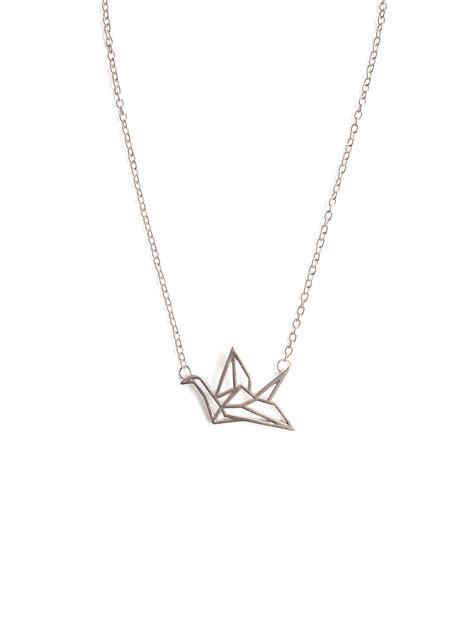 origami crane necklace backorder origami crane necklace in silver arva co
