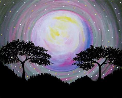 couples paint nite island paint nite moon between the trees