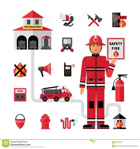 Decorative Fire Extinguisher fire department flat icons set stock vector image 64024310
